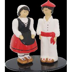Figura cerámica de novios vascos traje tipico