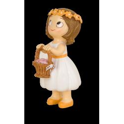 Figura niña cesta pétalos